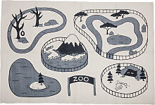 Bloomingville - Spielteppich Zoo, beige/ grau