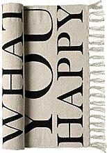 Bloomingville Teppich mit Text - Schwarz/Sand