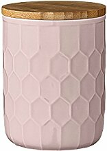 Bloomingville Vorratsdose mit Bambusdeckel rosa mittel Höhe: ca. 14 cm