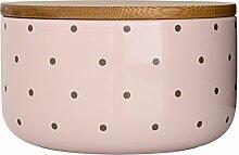 Bloomingville Vorratsdose mit Holzdeckel rosa, grau gepunkte