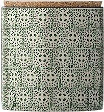 Bloomingville Vorratsdose mit Korkdeckel Karine grün Porzellan handbemal