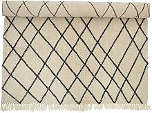 Bloomingville - Wollteppich 300 x 200 cm, Rautenmuster, beige/ schwarz