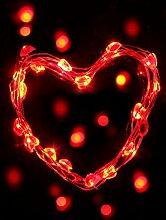 BLOOMWIN 5M 50er LED Herz Kupferdraht Lichterkette Rot, IP68 Outdoor Lichtervorhang für Garten Schaufenster Haus Cafe