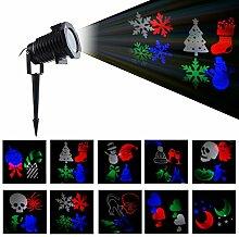BLOOMWIN Projektor Lichter 10 Linsen, RGBW IP44 LED Landschaft Dekorativ Drehende Gartenbeleuchtung Projektionslampe mit Erdspieß für Weihnachten, Halloween, Fasching, Neujahr