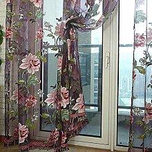 Bloße Gardinen mit Blumendruck, 1-teiliges