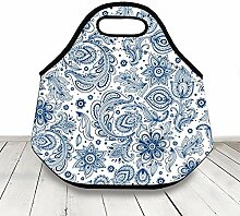 Blue And White Damask Design Floral Lunch Bag For