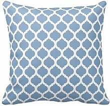 Blue and White Quatrefoil Print Pillows Decorative Pillowcase with Zipper Desi Square