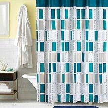 Blue Grid Wasserdichte Verdickung Polyester Duschvorhang Badezimmer Bad Vorhang Vorhänge ( größe : 200*200cm )