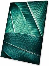 Blue Leaf Grün Weiß modernes abstraktes Porträt