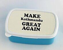 Blue lunch box with MAKE Kathmandu GREAT AGAIN