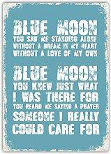 Blue Moon Lied Metall Wandschild Kunst,