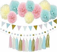 Blue Pink Creme Gold Tissue Papier Pompom Gender Reveal Party Dekoration Kit mit Dreieck Banner Papier Tassel Girlande Kreis Girlande für Geburtstag PartyWeihnachten/Neujahr Baby Dusche Dekoration