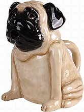 Blue Sky Ceramics Ceramic Pug Teapot-Cream Blue