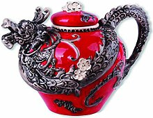 Blue Sky Ceramics Ceramic Red Dragon Teapot Blue