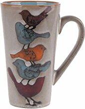 Blue Sky Keramikbecher mit Vögeln, 454 ml