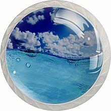 Blue Sunny Sky Schubladenknöpfe aus Glas für