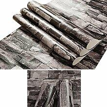 Blue Vessel 10M Roll Brick Stone Brick Stacked Stone Wallpaper Vinyl PVC Home Decor (Schwarz)