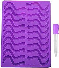 Blue Vessel 20 Cavity Schlangen Worm Gummy Hard Candy Schokolade Silikon Tray Form Werkzeuge (Purple)