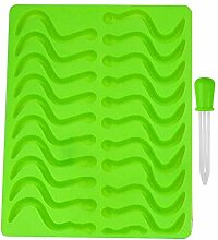 Blue Vessel 20 Cavity Schlangen Worm Gummy Hard Candy Schokolade Silikon Tray Form Werkzeuge (Grün)
