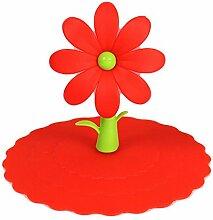 Blue Vessel Blume Auslaufsicher Kaffee-Haferl Saug Deckel Kappe Luftdicht Versiegelte Becher Silikonhülle (Rot)