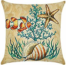 Blue Vessel Ocean Beach Sea Cotton Leinen Kissenbezug Sofa Throw Kissenbezug Home Decor (Anemonenfisch)