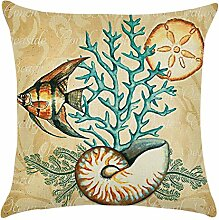 Blue Vessel Ocean Beach Sea Cotton Leinen Kissenbezug Sofa Throw Kissenbezug Home Decor (Tropische Fische)