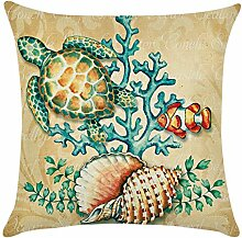 Blue Vessel Ocean Beach Sea Cotton Leinen Kissenbezug Sofa Throw Kissenbezug Home Decor (Schildkröten)