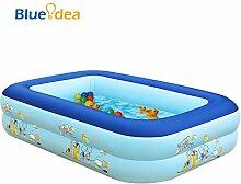 blueidea® Erwachsene Kinder Aufblasbares Schwimmbecken Schwimmbad Familie große PVC Aufblasbare Pool ringförmigen Bubble unten (blau)