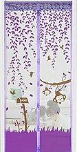 Bluelans® Magnet Fliegengitter Tür Insektenschutz 90x210 cm / 100x220 cm, Der Magnetvorhang ist Ideal für die Balkontür, Kellertür, Terrassentür, Kinderleichte Klebemontage Ganz Ohne Bohren (90x210 CM, Lila)
