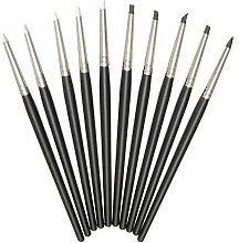 Bluelover 10 Pcs Soft Silikon Ton Kautschuk Stift Fimo Modelliermasse Bildhauerei Handwerk Werkzeuge 15Cm