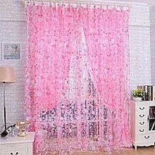 Bluelover 100X200Cm Flower Print Tüll Fenster Vorhang Balkon Schlafzimmer Vorhang - Rosa