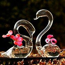 Bluelover 2Pcs Liebende Schwäne Blume Bewässerung Pflanzen Glas Vase Home Decor