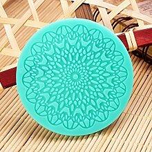 Bluelover 7Cm Fondant-Kuchen-Runde Spitze-Silikon-Form-Zucker-Kunst-Werkzeuge