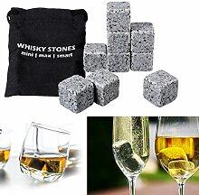 Bluelover 9Pcs Whisky Eis Stones Granit Getränke Kühler Würfel Scotch Felsen Gefrierschrank Beutel