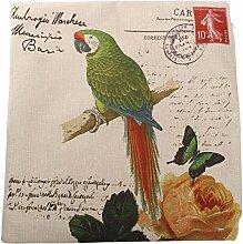 Bluelover Baumwolle Leinen Papagei gedruckt Pillow Case-Sofa-Bett Kissen Cover - A