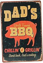 Bluelover BBQ Tin Sign Retro Vintage Metall Plaque Bar Pub Haus-Wand-Dekor