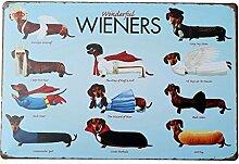 Bluelover Dackel Hund Tin Sign Vintage Metall Plaque Poster Bar Pub Haus-Wand-Dekor