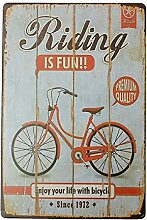 Bluelover Fahrrad Tin Sign Vintage Metall Plaque Poster Bar Pub Haus-Wand-Dekor