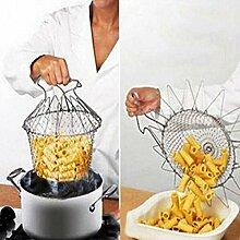 Bluelover Faltbare Dampf spülen Dehnungs Net Fry Chef Basket Strainer-Küche-Werkzeug