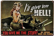Bluelover Frau Soldat Tin Sign Vintage Metall Plaque Poster Bar Pub Haus-Wand-Dekor