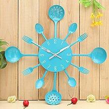 Bluelover Küche Besteck Besteck Wand Uhr Löffel Gabel Home Dekoration-Blau