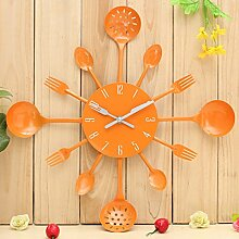 Bluelover Küche Besteck Besteck Wand Uhr Löffel Gabel Home Dekoration-Orange