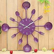 Bluelover Küche Besteck Besteck Wand Uhr Löffel Gabel Home Dekoration-lila