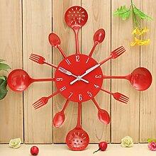 Bluelover Küche Besteck Besteck Wand Uhr Löffel Gabel Home Dekoration-ro