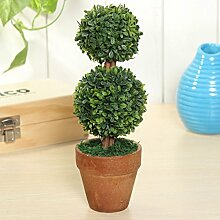 Bluelover Künstliche Topfpflanzen Pflanze Kunststoff Garten Rasen Ball Hecke Baum Topf Schreibtisch Hauptdekor-#1