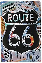 Bluelover Route 66-Tin Sign Vintage Metall Plaque Bar Pub Haus-Wand-Dekor