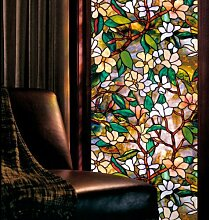 Bluelover Statische Fenster Filme Magnolia 3 Meter Pvc Folien Glas Aufkleber-Kleber Gabel Kunstglas Poster