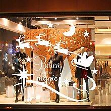 Bluelover Weihnachten-Fenster Wand Aufkleber Reh Schlitten Diy Abnehmbare Wasserdichte Sticker-Weiß