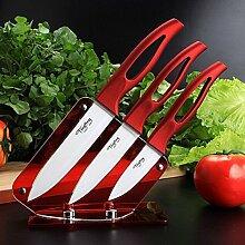 Bluelover Weiße Klinge Keramikmesser Set Kochen Küche Werkzeuge roten Griff