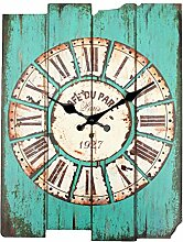 Bluelover Zakka Vintage Rustikales Holzwand Uhr Shabby Home Zimmer Cafe Bar Wand Dekor Blau